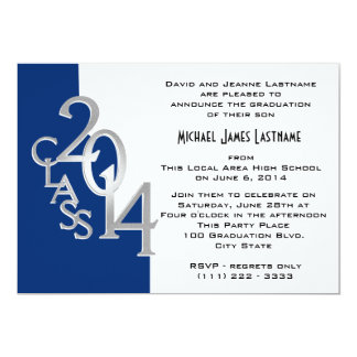 Blue with Silver Class of  2014 Grad Card