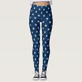 Blue With White Stars Leggings