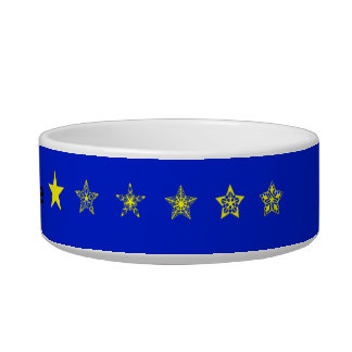 Blue with yellow stars personalised pet bowls