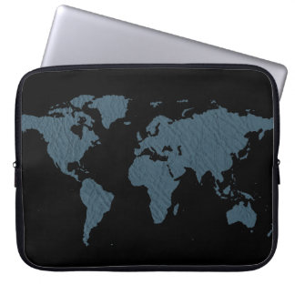 blue world map laptop sleeve
