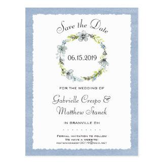 Blue Wreath Elegance Wedding Save the Date Postcard