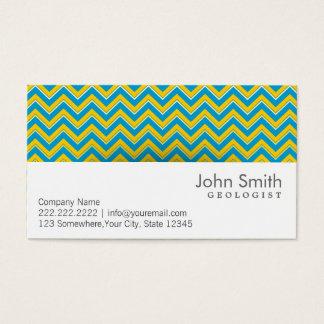 Blue & Yellow Chevron Geologist Business Card