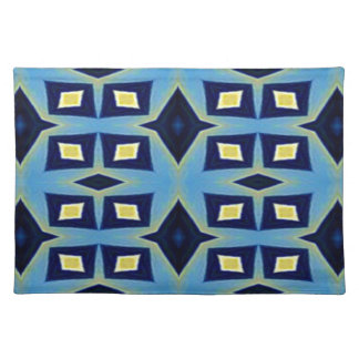 Blue Yellow Geometric Funky Pattern Placemat