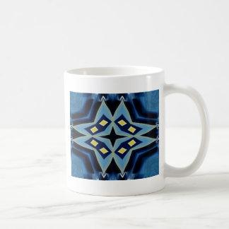 Blue Yellow Geometric Symmetrical Funky Pattern Coffee Mug