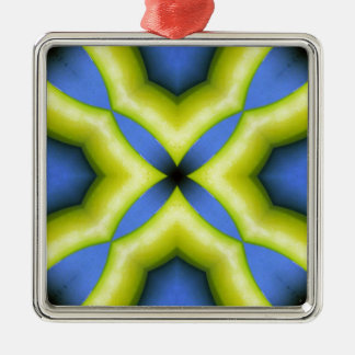 Blue Yellow Kaleidoscope Design Christmas Ornament