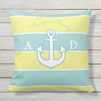 blue & yellow large stripes nautical & monogrammed outdoor cushion