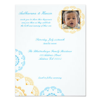 Blue & Yellow Namkaran Baby Naming Invitations