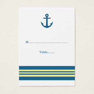 Blue Yellow Nautical Anchor Wedding Place Cards