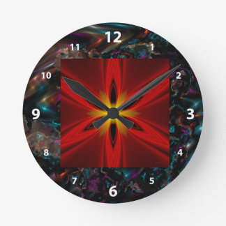 Blue Yellow Purple Starburst Multi products select Round Clock