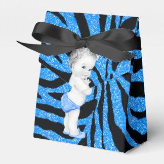 Blue Zebra Baby Shower Favor Boxes