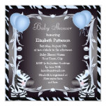Blue Zebra & Balloons Animal Print Baby Shower 13 Cm X 13 Cm Square Invitation Card