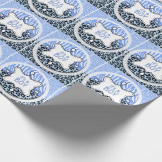Blue Zebra,Leopard Boy Baby Shower Wrapping Paper