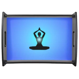 Blue Zen Meditation Sunburst Serving Tray