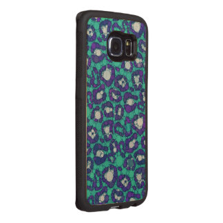 Blueberry Turquoise Cheetah Wood Phone Case