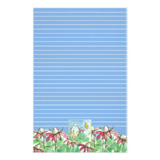 Bluebird Butterfly Pink Coneflowers Blue Lined Stationery