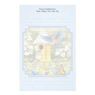 Bluebirds and Hexagon Birdhouse Blue Stationery