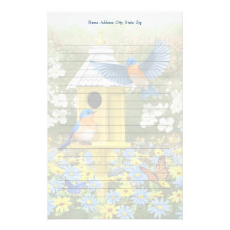 Bluebirds and Tall Yellow Birdhouse Stationery