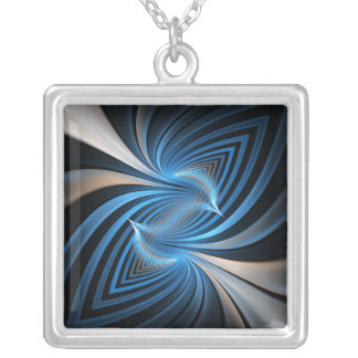 Bluebirds Fractal Silver Plated Necklace