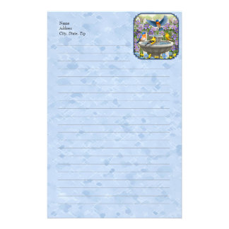 Bluebirds Goldfinches Flower Garden Fountain Blue Stationery