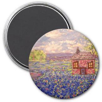 bluebonnet cottage 7.5 cm round magnet