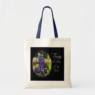 "Bluebonnet ""Texas the Home of My Heart"" Tote Bag"