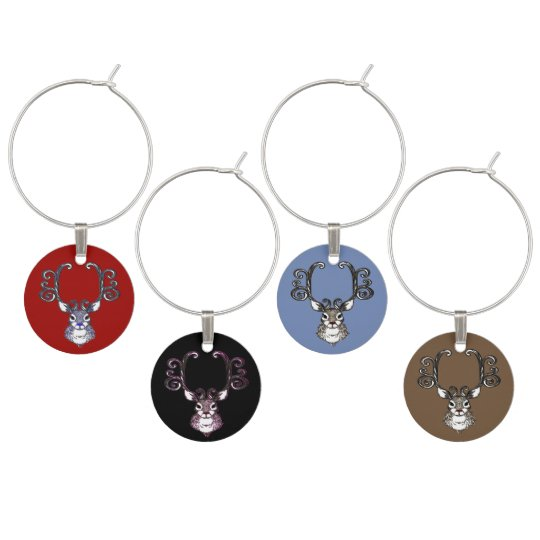Bluenoser Blue nose Reindeer cute wine charm set