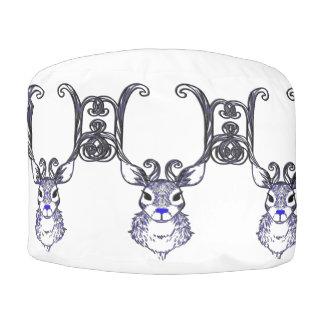 Bluenoser Blue  Reindeer deer pillow cushion pouf