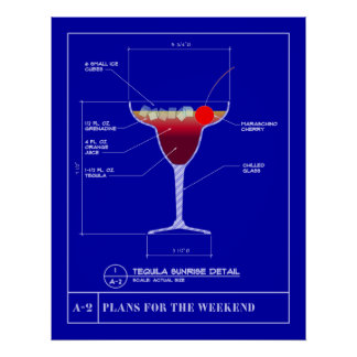 Blueprint for a Tequila Sunrise Print