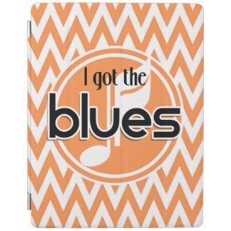 Blues Music; Orange and White Chevron iPad Cover