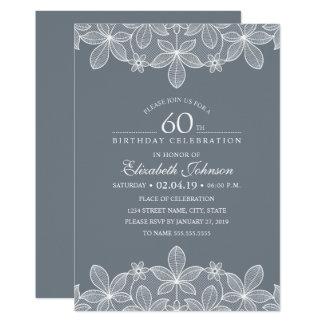Bluish Grey 60th Birthday Party Creative Lace Card