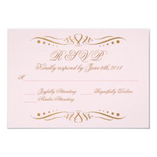 Blush and Gold Wedding Invitation RSVP