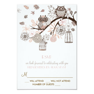 Blush and Gray Owls Winter Wedding RSVP Card 9 Cm X 13 Cm Invitation Card