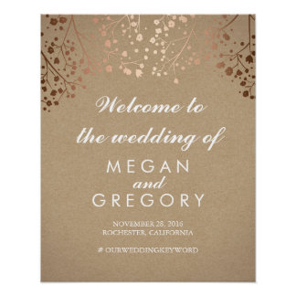Blush Baby's Breath Wedding Welcome Sign Coral