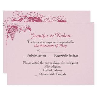Blush Grapevine Wedding Response Card
