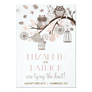 Blush & Grey Retro Owls Winter Wedding Invitation