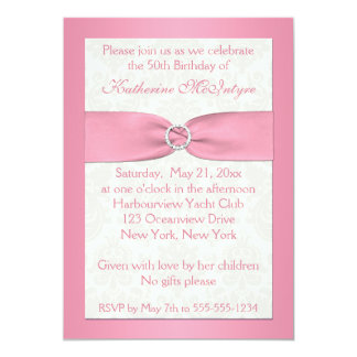 Blush Pink and Ivory Damask 50th Birthday Invite