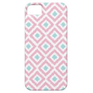 Blush Pink and Mint Diamond Ikat Pattern iPhone 5 Covers