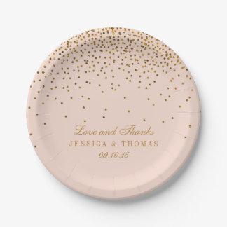 Blush Pink & Gold Confetti Wedding 7 Inch Paper Plate