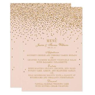 Blush Pink & Gold Confetti Wedding Menu Card