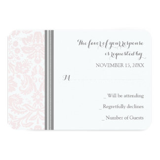 Blush Pink Grey Damask RSVP Wedding Card