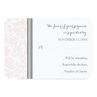 Blush Pink Grey Damask RSVP Wedding Card 9 Cm X 13 Cm Invitation Card
