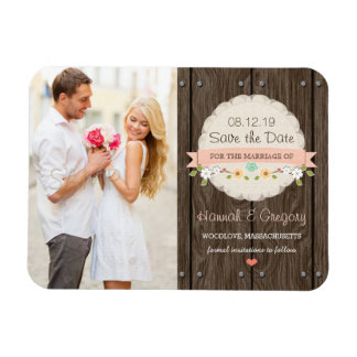 Blush Pink Rustic Floral Boho Save the Date Magnet
