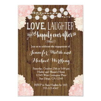 Blush Pink Rustic Wood Engagement Party Invitation