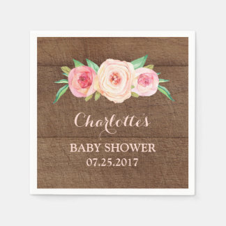 Blush Pink Watercolor Floral Wood Baby Shower Disposable Napkins