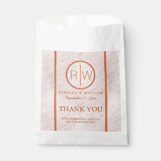 Blush Pink Watercolor Monogram Wedding Thank You Favour Bags