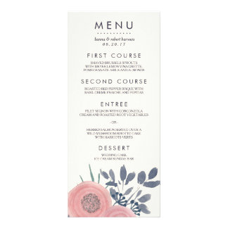Blush Poppies Custom Wedding Menu Card Custom Rack Card