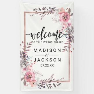 Blush & Rose Gold Framed Floral Wedding Welcome Banner