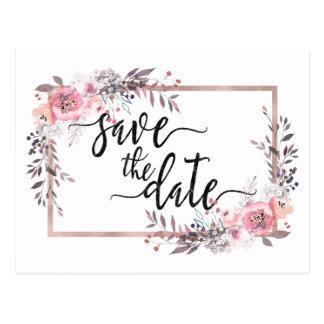 Blush & Rose Gold Framed Wedding Save the Date Postcard