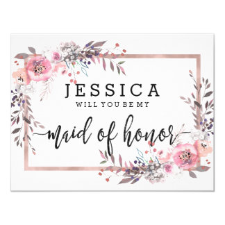 Blush & Rose Gold Will You Be My Maid of Honour Card