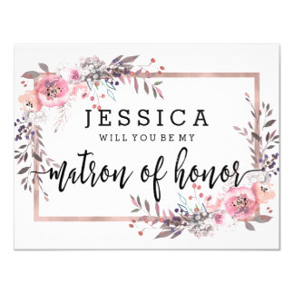 Blush & Rose Gold Will You Be My Matron of Honour Card
